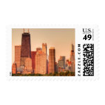 Panorama of Chicago skyline at sunrise Stamps