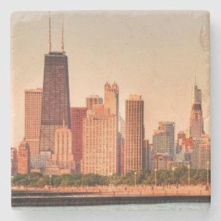 Panorama of Chicago skyline at sunrise Stone Coaster