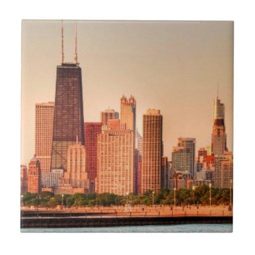Panorama of Chicago skyline at sunrise Ceramic Tiles