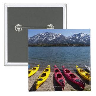 Panorama of kayaks on Bernard Lake in Alaska 2 Button