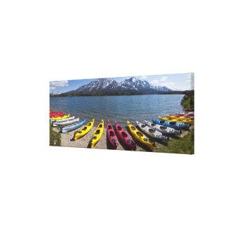 Panorama of kayaks on Bernard Lake in Alaska 2 Canvas Print