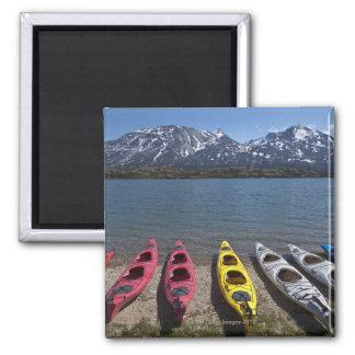 Panorama of kayaks on Bernard Lake in Alaska 2 Inch Square Magnet
