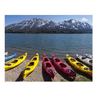 Panorama of kayaks on Bernard Lake in Alaska 2 Postcard
