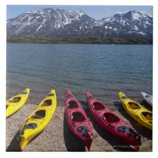 Panorama of kayaks on Bernard Lake in Alaska 2 Tile