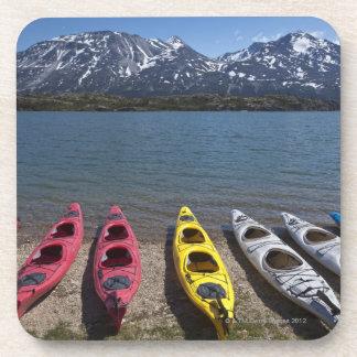 Panorama of kayaks on Bernard Lake in Alaska Coaster