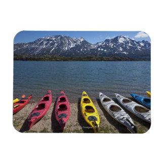 Panorama of kayaks on Bernard Lake in Alaska Magnet