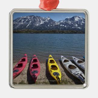 Panorama of kayaks on Bernard Lake in Alaska Ornament