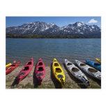 Panorama of kayaks on Bernard Lake in Alaska Postcard