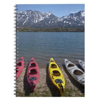 Panorama of kayaks on Bernard Lake in Alaska Spiral Notebook