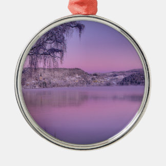 Panorama of Lake Bled Julian Alps Slovenia Round Metal Christmas Ornament