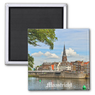 Panorama of Maastricht from river Maas or Meuse 2 Inch Square Magnet