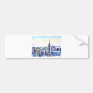 Panorama Of Manhattan Skyline in watercolor Bumper Sticker