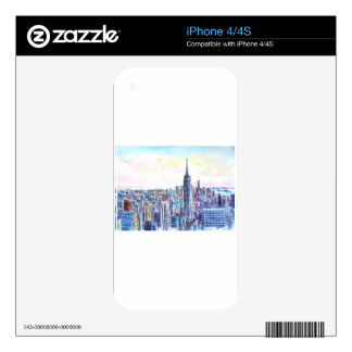 Panorama Of Manhattan Skyline in watercolor Decal For iPhone 4