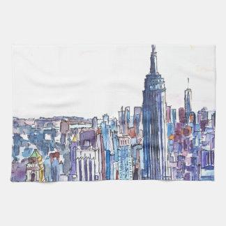 Panorama Of Manhattan Skyline in watercolor Kitchen Towel