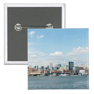 Panorama of Midtown Manhattan over Hudson River Button