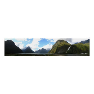 Panorama of Milford Sound, Mount Cook, New Zealand Poster