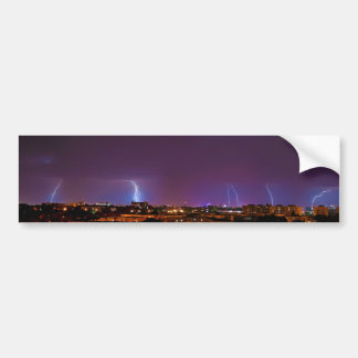 Panorama of Multiple Lighting Strikes in Bucharest Bumper Sticker