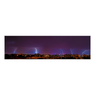 Panorama of Multiple Lighting Strikes in Bucharest Posters