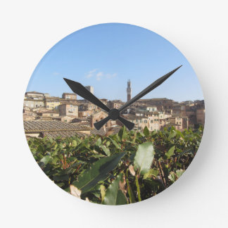 Panorama of Siena with the tower Torre del Mangia Round Clock