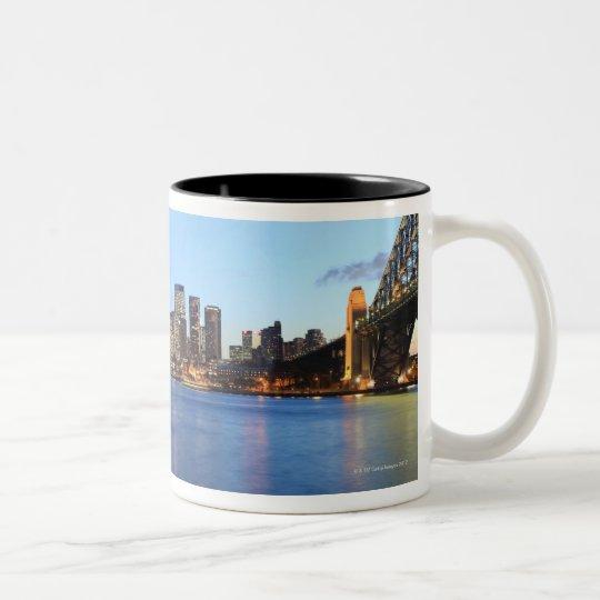 Panorama of Sydney Harbour Bridge at dusk with Two-Tone Coffee Mug