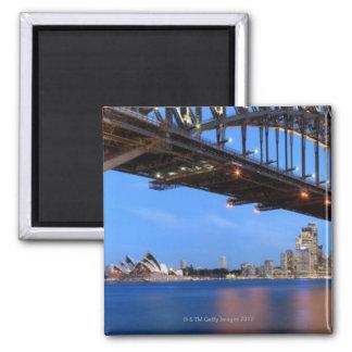 Panorama of Sydney Harbour Bridge, Sydney Opera 2 Inch Square Magnet