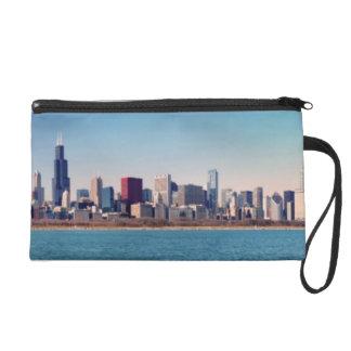 Panorama of the Chicago skyline Wristlet Purse