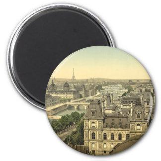Panorama of the Seven Bridges, Paris, France 2 Inch Round Magnet