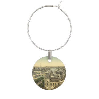 Panorama of the Seven Bridges, Paris, France Wine Glass Charm