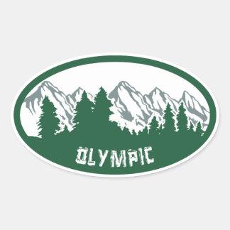 Panorama olímpico del parque nacional pegatina ovalada