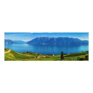 Panorama on Lavaux region, Vaud, Switzerland Photo Print