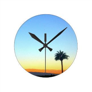 Panorama Palms Round Clock