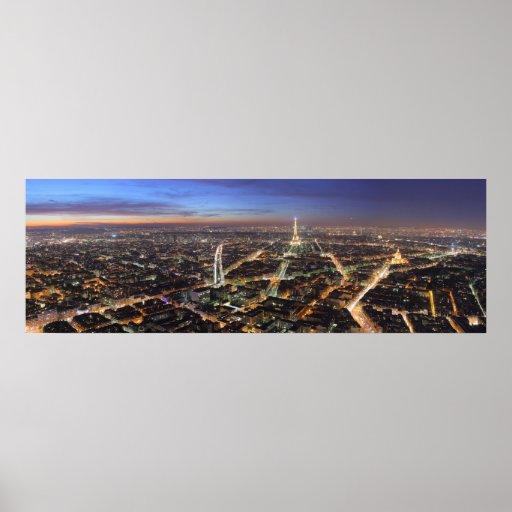 Panorama París Francia en la noche Póster