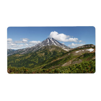 Panorama summer volcano landscape in Kamchatka Label