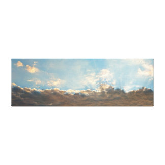 Panorama Sun Rays Shining Behind Big Clouds Canvas Print
