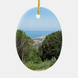 Panoramic aerial view of Livorno city Ceramic Ornament