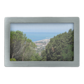 Panoramic aerial view of Livorno city Rectangular Belt Buckle