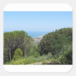 Panoramic aerial view of Livorno city Square Sticker
