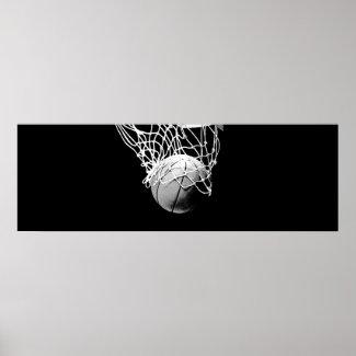 Panoramic Basketball Print Poster