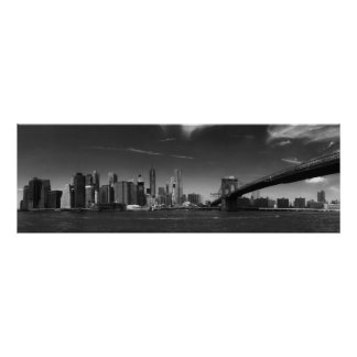 Panoramic Black White Brooklyn Bridge New York Poster