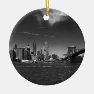Panoramic Black White Brooklyn Ceramic Ornament