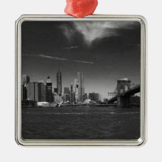 Panoramic Black White Brooklyn Metal Ornament