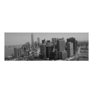 Panoramic Black White New York Skyline Poster