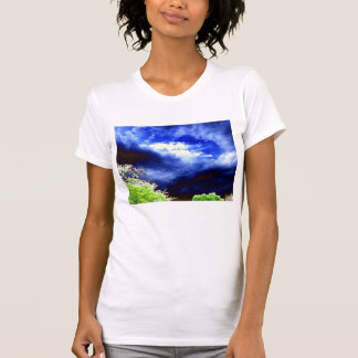 Panoramic Blue&Yellow Storm and Glowing Trees by K T-shirts