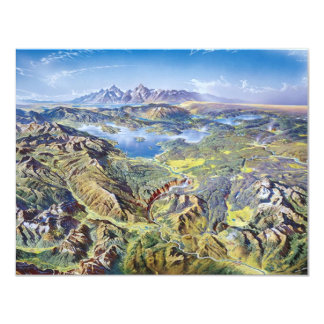 Panoramic Drawing Of Yellowstone 4.25x5.5 Paper Invitation Card