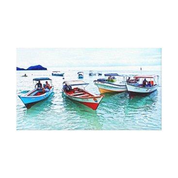 "Beach Themed Panoramic Fisher boats (""peñeros"") in Mochicha Canvas Print"