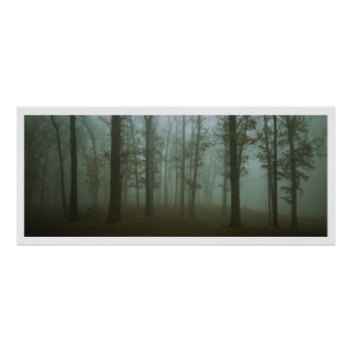Panoramic Gloomy Forest Landscape Posters