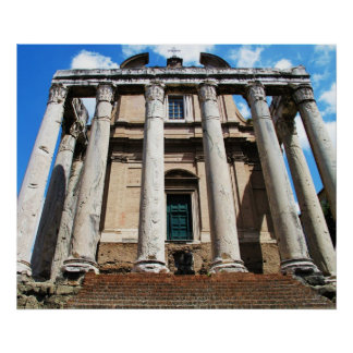 Panoramic image columns,Temple of Antoninus POSTER