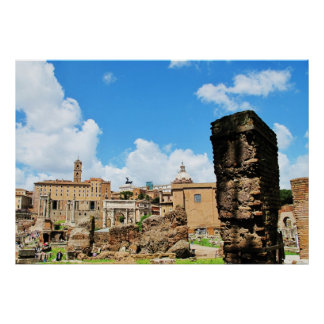 Panoramic Images of Columns of  old ruins, Rome Poster