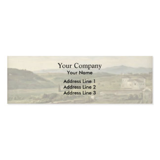 Panoramic Landscape with Farmhouse by George Watts Double-Sided Mini Business Cards (Pack Of 20)