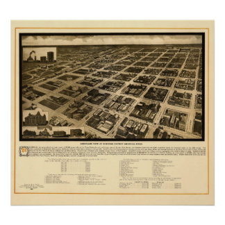 Panoramic Map Birds Eye View of Amarillo, TX Poster